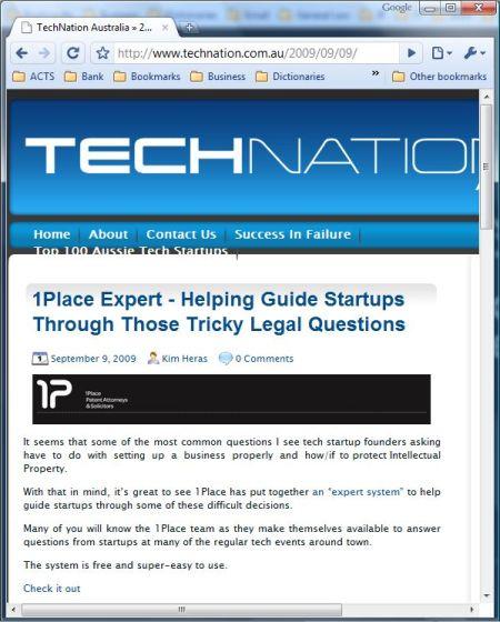 1Place expert system on Technation.com.au